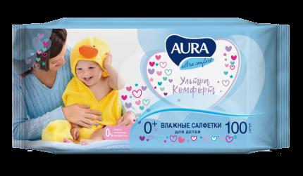 Детские влажные салфетки Aura Ultra Comfort 100 шт.