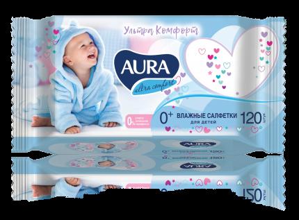 Детские влажные салфетки Aura Ultra Comfort с экстрактом алоэ и витамином Е, 120 шт