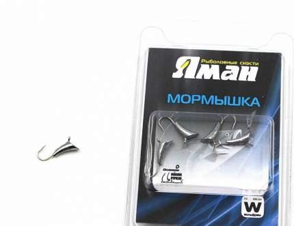Мормышка вольфрам Яман Blue Fox с ушками, р.6, 3,00 г, цвет никель (5 шт.) Я-МР236