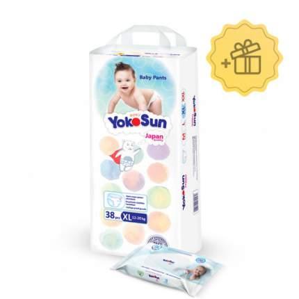 Трусики-подгузники YokoSun размер XL (12-20 кг) 38 шт Влажные салфетки 18 шт в подарок