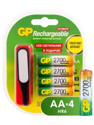 Аккумуляторная батарея GP АА (HR6) 2700 мАч, 4 шт + USB светильник