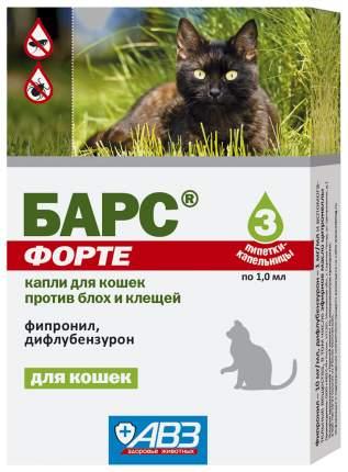 Капли для кошек против блох, власоедов, вшей, клещей Барс, 3 пипетки, 1 мл