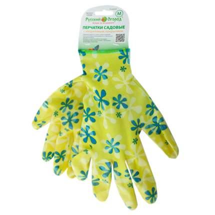 Садовые перчатки Русский огород 10500 Зеленая ромашка размер М