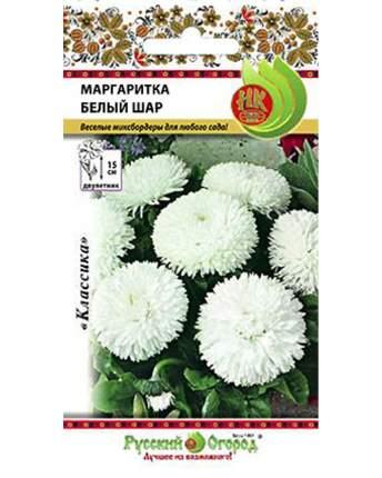 Семена цветов Русский огород 703174 Маргаритка Белый шар 0,05 г