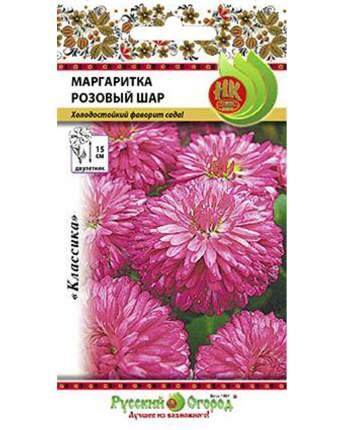 Семена цветов Русский огород 703175 Маргаритка Розовый шар 0,05 г
