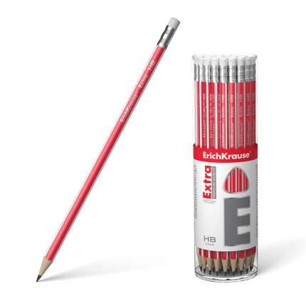 Чернографитный трехгранный карандаш с ластиком ErichKrause® Extra HB тубус 42