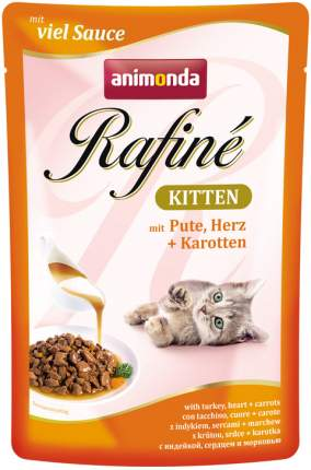 Влажный корм для котят Animonda Rafine Kitten с индейкой, сердцем и морковью, 12шт по 100г