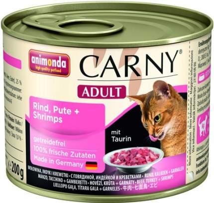 Консервы для кошек Animonda Carny Adult, с говядиной, индейкой и креветками, 6шт по 200г