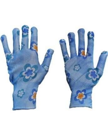 Перчатки с точечной заливкой голубые L