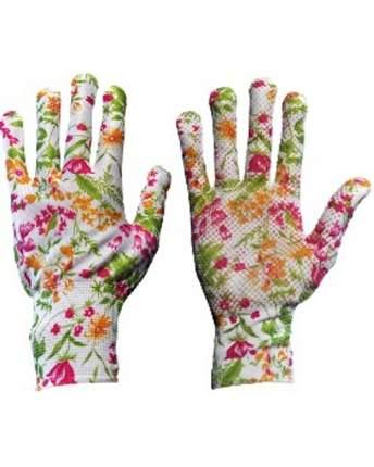 Перчатки с точечной заливкой цветочные S (12шт/уп)