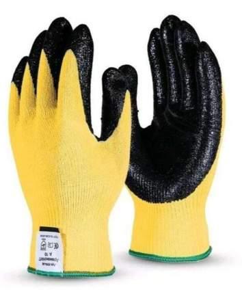 Перчатки в черной обливке желтые S (12шт/уп)
