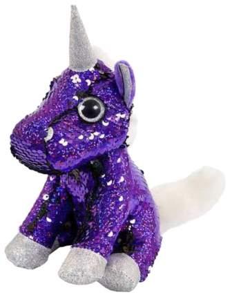 Единорог с пайетками, фиолетовый-черный, 15см