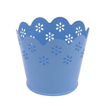 Вазон металлический окрашенный, цвет: голубой, 7x9 см, арт. AR014