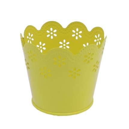 Вазон металлический окрашенный, цвет: желтый, 7x9 см, арт. AR014