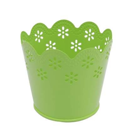 Вазон металлический окрашенный, цвет: зеленый, 7x9 см, арт. AR014