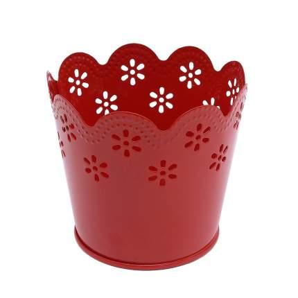 Вазон металлический окрашенный, цвет: красный, 7x9 см, арт. AR014