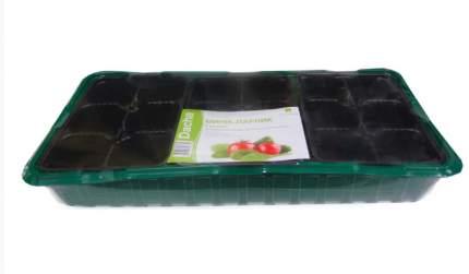 Мини-парник на подоконник (3 вставки, 18 ячеек, зеленый)
