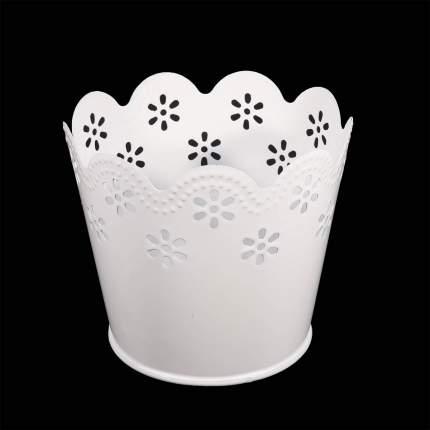 Вазон металлический окрашенный, цвет: белый, 7x9 см, арт. AR014