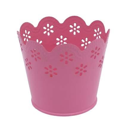 Вазон металлический окрашенный, цвет: розовый, 7x9 см, арт. AR014