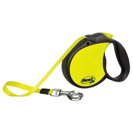 Поводок-рулетка для собак Flexi New Neon, лента, черный/желтый, L, до 50 кг, 5 м