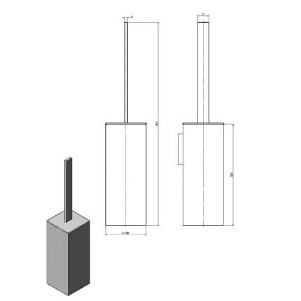 Ерш LANGBERGER VICO хромированный квадратный к стене (колба пластик) (11372В)