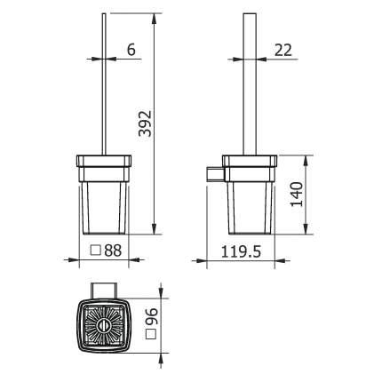 Ерш LANGBERGER VICO стекло к стене квадратный (11325А)