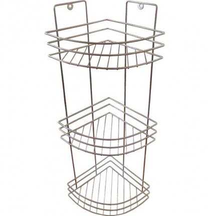 Полка угловая 3-х ярусная цвет зеркальный хром ПУ-3 Метиз