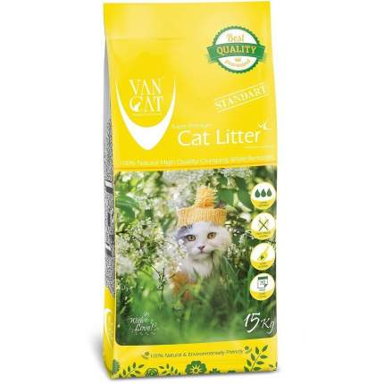 Комкующийся наполнитель для кошек Van Cat бентонитовый, без пыли, 15 кг