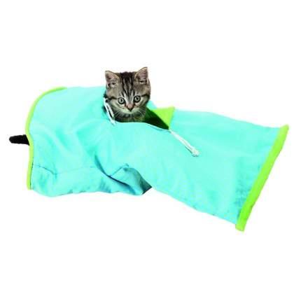 Тоннель для кошек Trixie Crackle Sack, синий/зеленый 50×28см