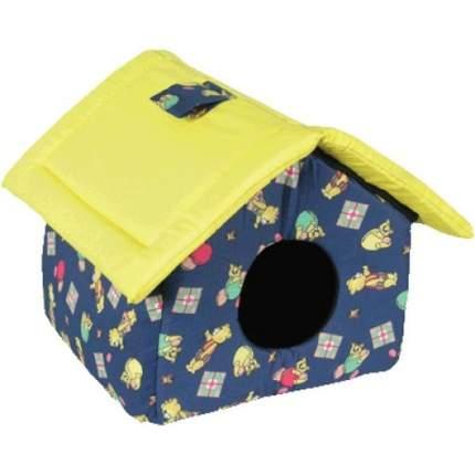 Домик для кошек и собак Зооник с крышей ситец, синий, желтый, 38x31x37см