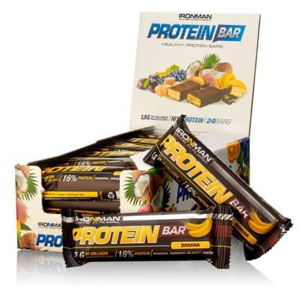 "Батончик ""IRONMAN"" ""Protein Bar"" с коллагеном, 50г (Банан/тёмная глазурь)(24шт)"