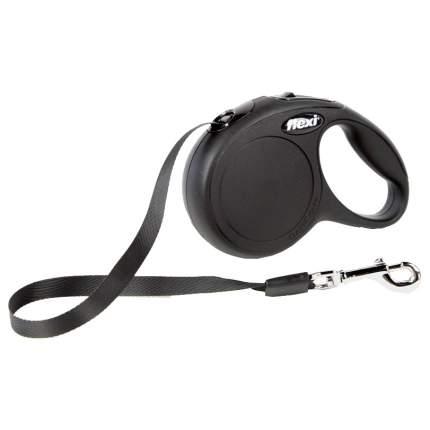 Поводок-рулетка для собак Flexi New Classic, лента, черный, M, до 25 кг, 5 м