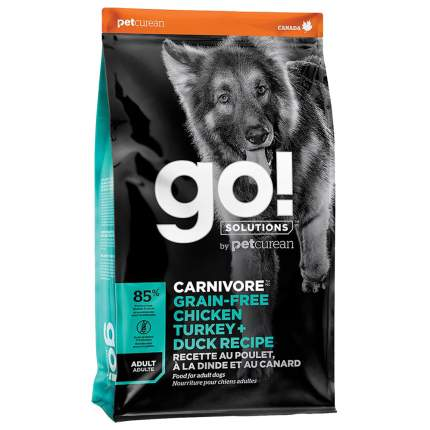 Сухой корм для собак GO! Carnivore Grain Free Adult, индейка, курица, лосось, утка, 9,98кг