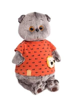"""Мягкая игрушка """"Басик"""" в оранжевой футболке с рыбками и львёнком"""", 25 см Басик и Ко"""