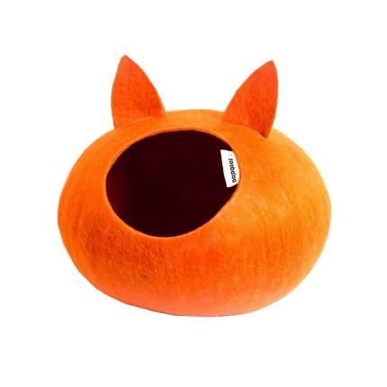 Домик для кошек и собак Zoobaloo WoolPetHouse с ушками L, оранжевый, 40x40x20см
