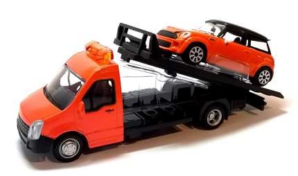 Коллекционная машинка-эвакуатор Bburago STREET FIRE FLATBED TRANSPORT Оранжевый 1:43