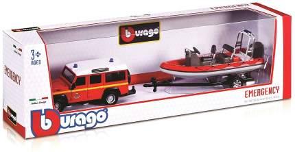 Коллекционная машинка Bburago EMERGENCY FORCE AUTO Z DK Красный с катером на прицепе 1:50