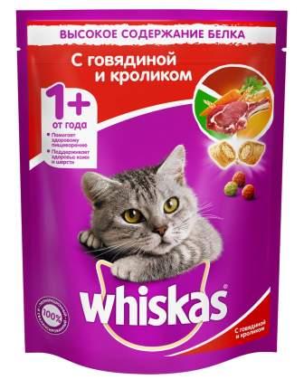 Сухой корм для кошек Whiskas, подушечки с паштетом, ассорти с говядиной и кроликом, 0,8кг