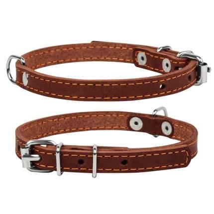 Ошейник для собак Collar одинарный кожаный, коричневый, 10мм х 22-30см