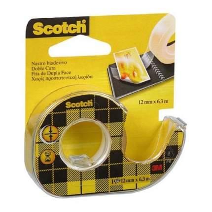 Лента Scotch клейкая двусторонняя прозрачная 12мм х 6,3м 1шт