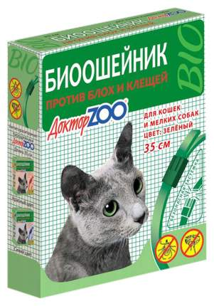 Ошейник для кошек и мелких собак против блох, клещей Доктор ZOO БИО зеленый, 35 см