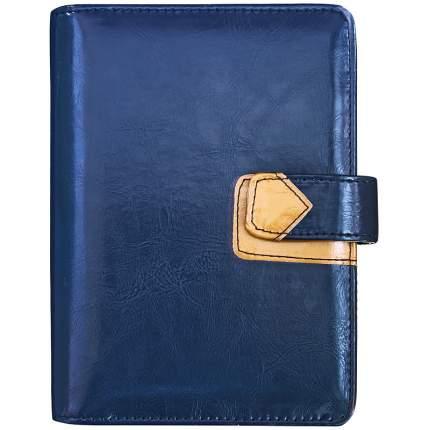 Бизнес-организатор,кожзам,на магнитной кнопке,с клапаном д/ручки,темн.синий/желтый,15х10,5