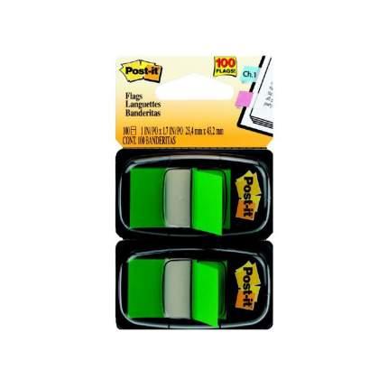 Закладки-ярлычки POST-IT, на полимерн. основе, зелёные, 25,4ммх43,2 мм, 100 шт.