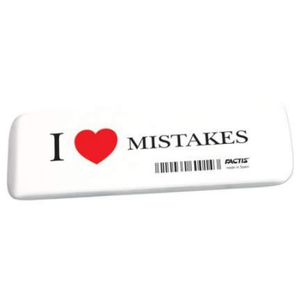 Ластик FACTIS I LOVE MISTAKES, мягкий, из синтетического каучука, размер 140х44.5х9 мм