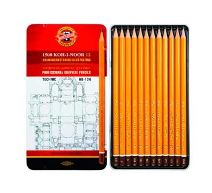 Набор карандашей чернографитных TECHNIC, 12 шт., HB-10H, в железной упаковке