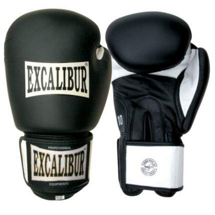 Боксерские перчатки Excalibur 558 черные/белые/золотистые 14 унций