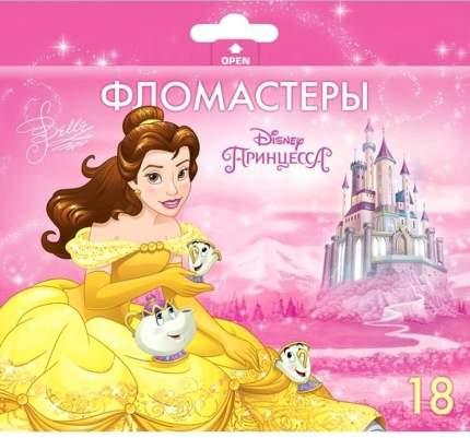 Фломастеры. 18 цветов. HATBER VK. Принцессы - Дисней В картонной коробке с европодвесом