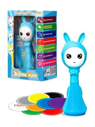 Музыкальная развивающая и обучающая игрушка-погремушка BertToys Умный Зайчик Няня голубой