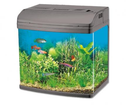 Аквариум для рыб Jebo R 338, влагозащитная поверхность, с изогнутым стеклом, серебро, 35 л