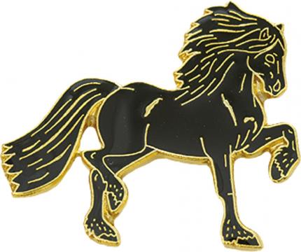 Значок HappyROSS металлический Фризианская лошадь 27х26мм чёрный